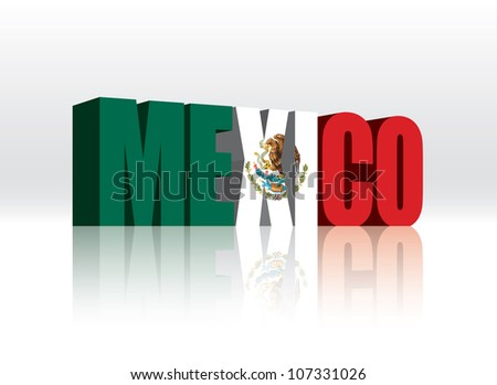 3d vector mexico word text flag