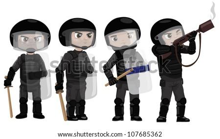 riots police vector