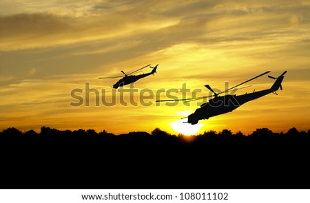 flying helicopter silhouettes