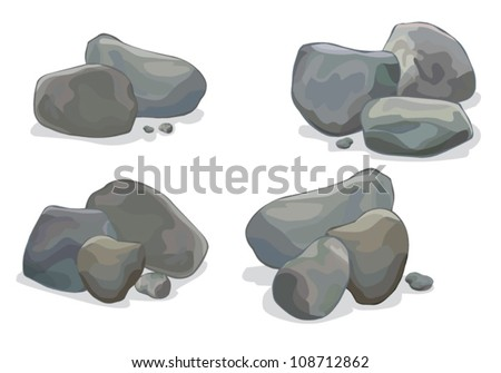vector stone object set