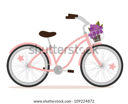 pink bicycle with flowers for