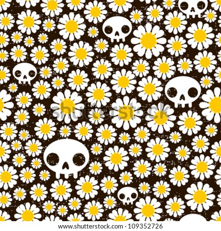 camomile and skull seamless