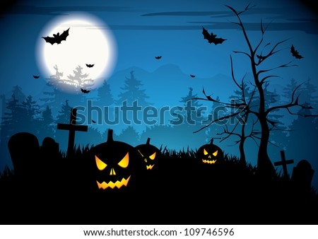 halloween night with pumpkins