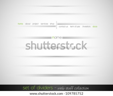 set of web dividers with