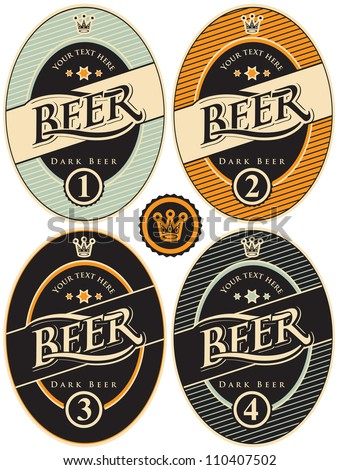 four labels for beer in a retro