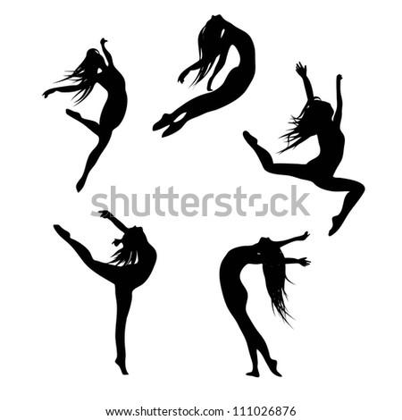 five black silhouettes dancing