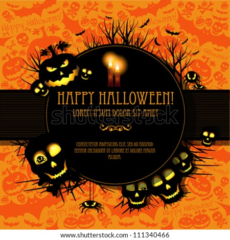 halloween vector card  or
