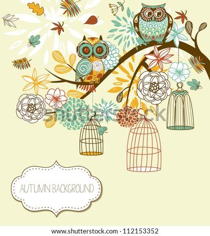 owl autumn floral background
