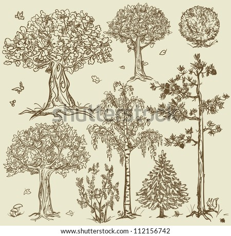 hand drawn trees isolated