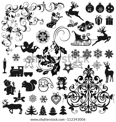 set of christmas icons and