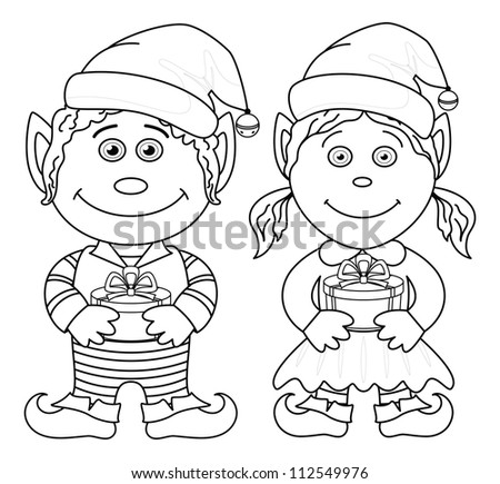 cartoon christmas elves  boy