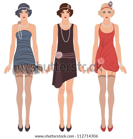 flapper girls set  three young