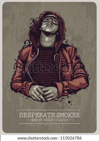 smoker grunge image vector