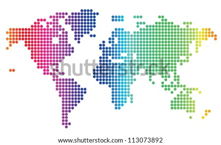multicolored dotted world map