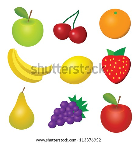 vector illustration of 9 fruits