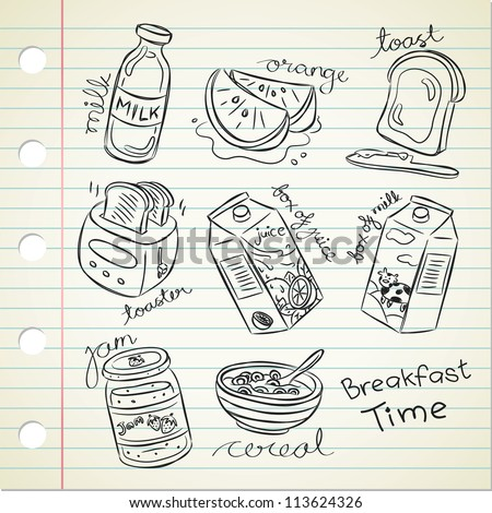 breakfast food in doodle style