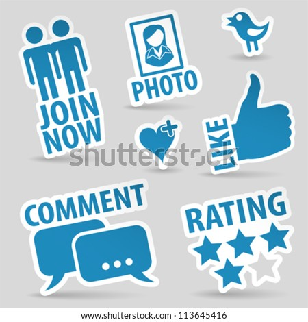 set social media stickers with