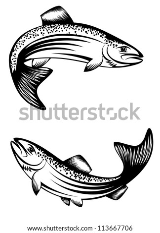 vector image of floating fish