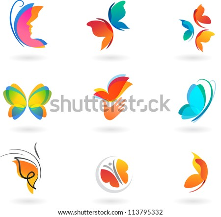 collection of butterfly vector