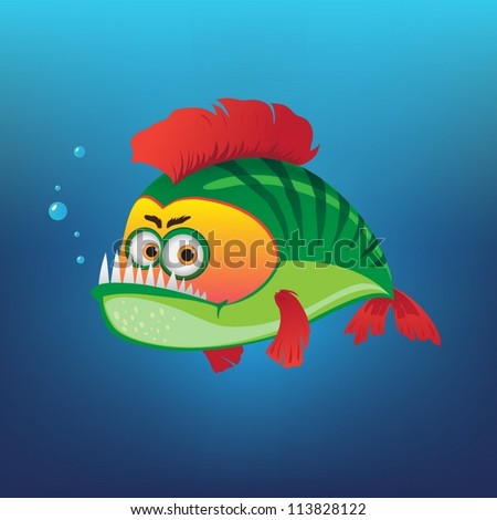 green fish with a red fins