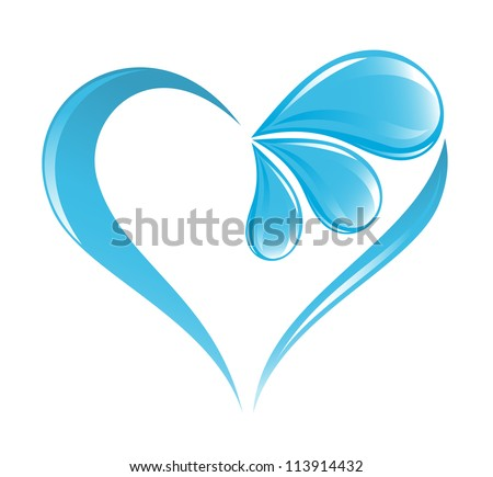 abstract water icon with heart