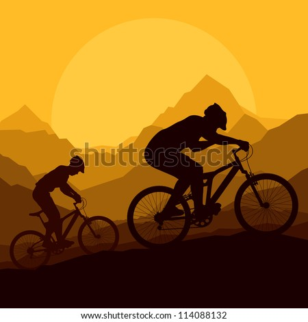 mountain bike riders in wild