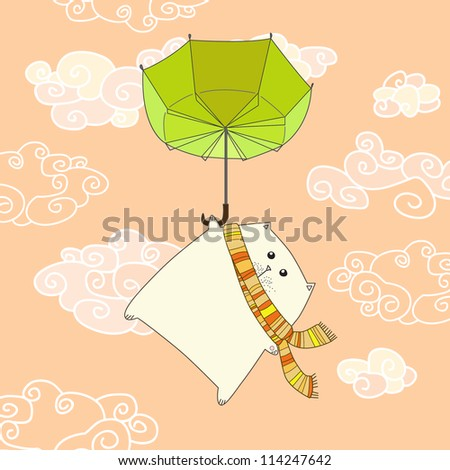 flying cat on the umbrella