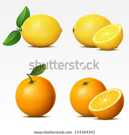collection of fruits on white