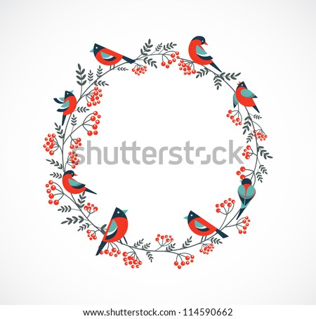 christmas wreath with birds and