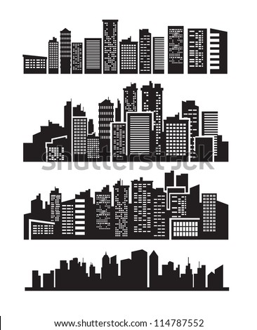 vector black city icons set on