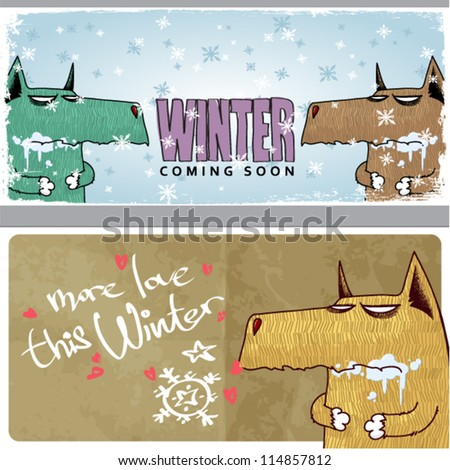 winter vector card with funny
