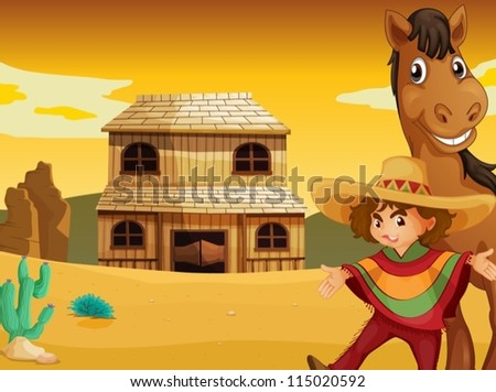 illustration of man  horse and