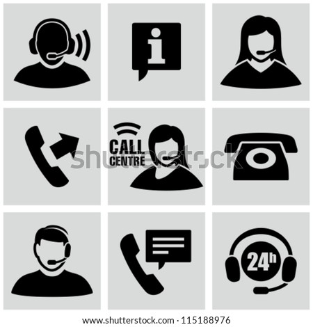 call center icons set