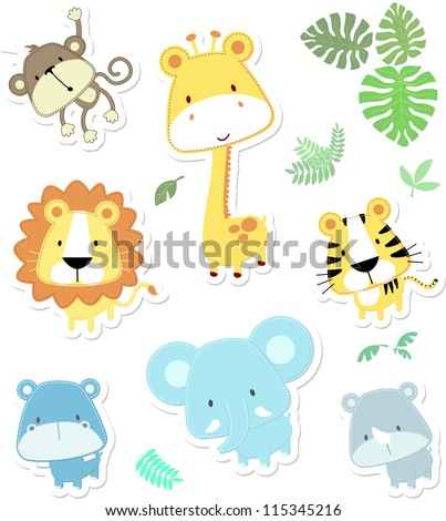 stock-vector-vector-cartoon-illustration-of-seven-baby-animals-and-jungle-leaves-individual-objects-very-easy