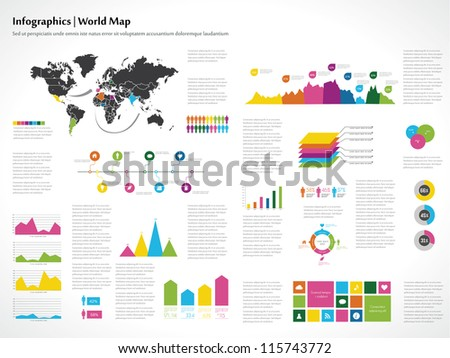 infographics set world map and