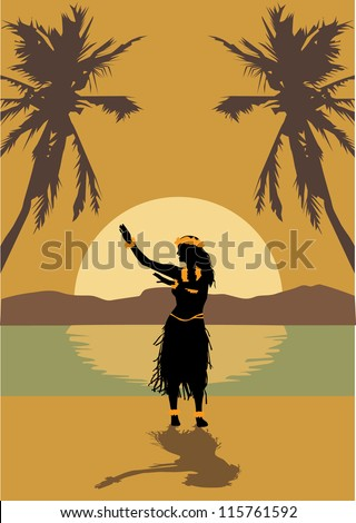 illustration of hawaii woman