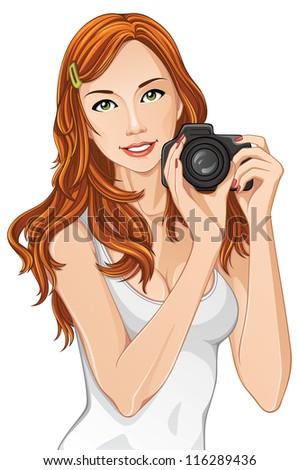 attractive female photographer