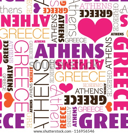 i love athens greece seamless