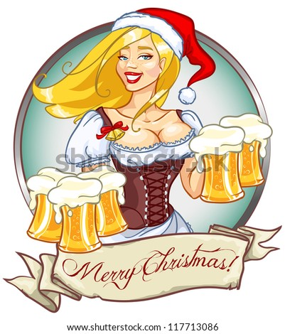santa girl with beer  christmas