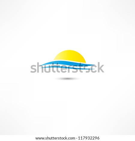 sea waves and rising sun vector