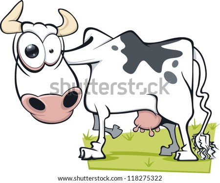 a cartoon cow with a mad
