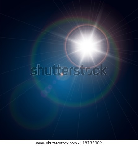 vector star  sun with lens
