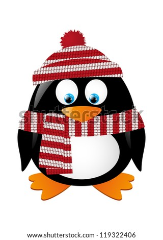 cute winter penguin isolated on