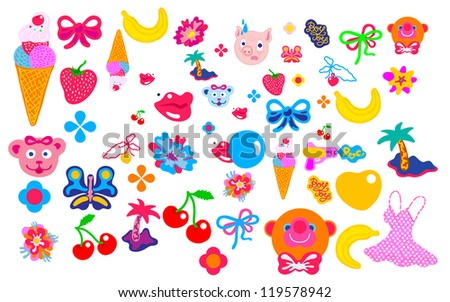 girlie vector pattern and object