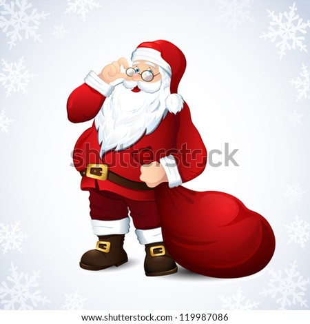 vector illustration with santa