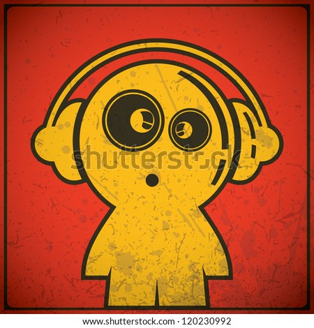 funny boy with headphones