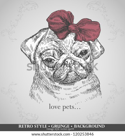 head pug dogs in retro style