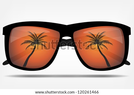sunglasses with a palm tree