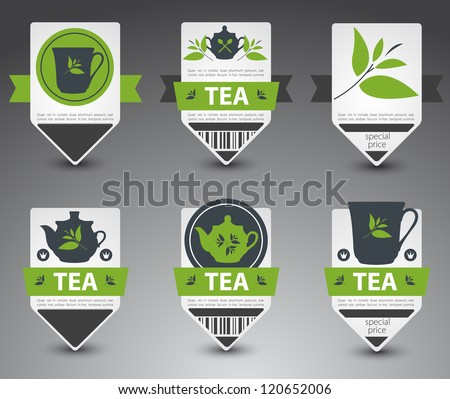 set of tea labels vector