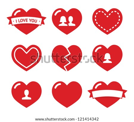 love hearts icons set for